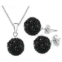Wholesale Fashion Black Ball Bead Rhinestone Crystal ladies elegant jewelry set.Free shipping.Necklace&amp;Eearring