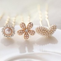 Free shipping, Pearl rhinestone hairpin hair stick peach heart bow flower