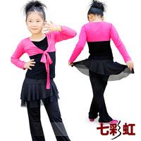 Autumn long-sleeve Latin dance clothes dance clothes Latin dance clothing dance pants leotard child female set