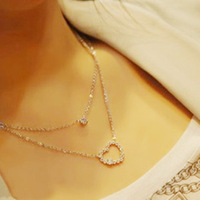 Free shipping, 2013 full rhinestone double layer short design of the love heart necklace chain double layer love