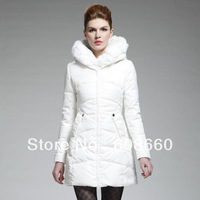 Free shipping 2013 winter outerwear large fur collar slim medium-long down coat female