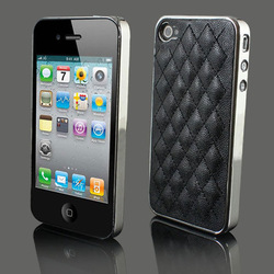 Black New Deluxe Leather Chrome Back Case Cover Skin for Apple iPhone 4 4G 4S, Free Shipping.(China (Mainland))