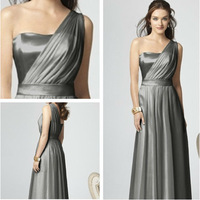 2013 New Arrival Free Shipping M045 One Shoulder  Sleeveless With sashes Ruched Chiffon Floor-length long brides maid dresses