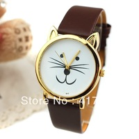Free shipping 5 colors 2013 new belt retro leather quartz watches for men women   Dark Brown 63500