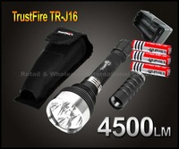 EMS+5Set TrustFire TR-J16 Flashlight 5 * CREE XM-L T6 LED 4500 LM High Power Camping LED Torch+3* 18650 Battery+1*Charger