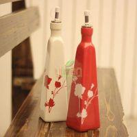 decorative home kitchen Oil bottle set, 2-illust soy sauce ceramic bottle,vinegar bottle home ceramic oil bottle supplies