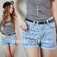 Free shipping,Women star Studs Rivet Short Jeans,Fashion Wornout Hot Jean Shorts,Lady Wash Denim mid-waist Shorts