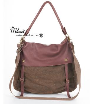 Vintage canvas flip spring water washed leather color block one shoulder cross-body women's handbag