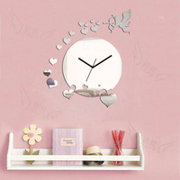 Fashion home wall stickers decoration clock diy crystal mirror wall clock living room wall clock