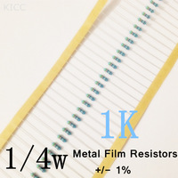 1/4w Metal Film Resistors 1K ohm +/- 1% (200pcs)
