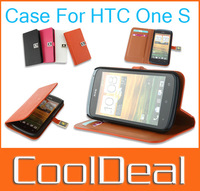 4 color,High Quality Make Mate 2 Card Slots Support Faction Flip Cowhide Leather case for HTC One S,Free Shipping