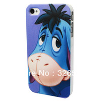 2013 Hot Selling Lovely Blue Key Big Ears Donkey Cartoon Hard Back Plasic Case Cover For APPLE iPhone 4/4S Skin Free Shipping
