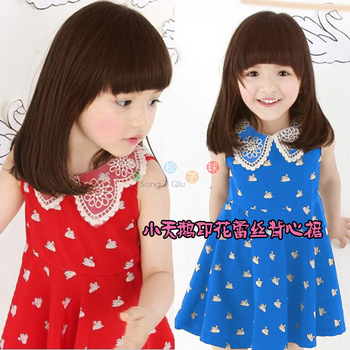Children's clothing 2013 female child summer little swan print lace tank dress one-piece dress princess dress