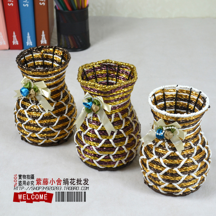 free shipping Tea bottle rattan vase flower pot flower basket artificial flower fashion rustic tub 160g hot selling(China (Mainland))