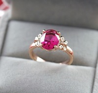 The red crystal high-grade ladies ring birthday gift Lovers gift free shipping