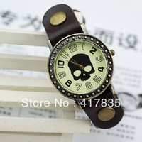 2013 new fashion diamond-studded leather belt Skull watch unisex retro Roman watches for men and women free shipping   brown