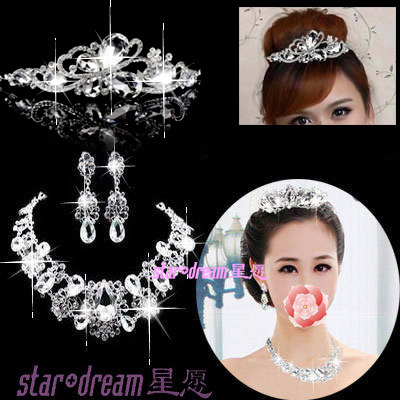 Accessories the bride accessories crystal necklace crystal butterfly the wedding set earrings female chain sets a877(China (Mainland))