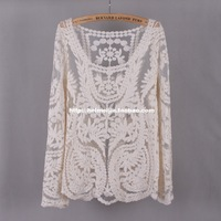 Light gauze cotton lace cutout embroidered coat long-sleeve shirt gowns,