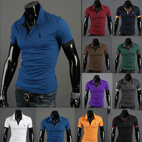 Fashion Men's short Sleeve polo Shirts with high collar/ Pullover T-shirt for man