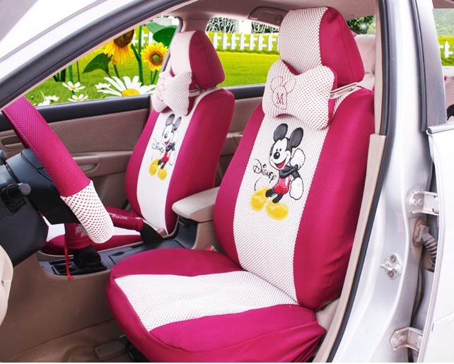 Mickey Mouse car seat covers 18pcs Silk car cushion Car Front Rear Seat Cover(China (Mainland))