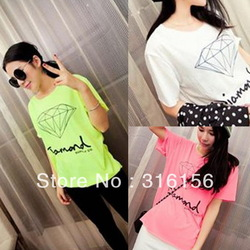 Lady 2013 spring and summer all-match simple candy color overcastting neon lines diamond short-sleeve tees tops Freeshipping(China (Mainland))