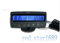 Battery Monitor/Car Alarm LCD Digital Thermometer Voltage Indoor Outdoor Alert 3v Rotate 180 degrees free shipping