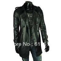 2013 Free shipping Men 's quality washed leather jacket epaulettes large lapel double-breasted men's leather coat long section
