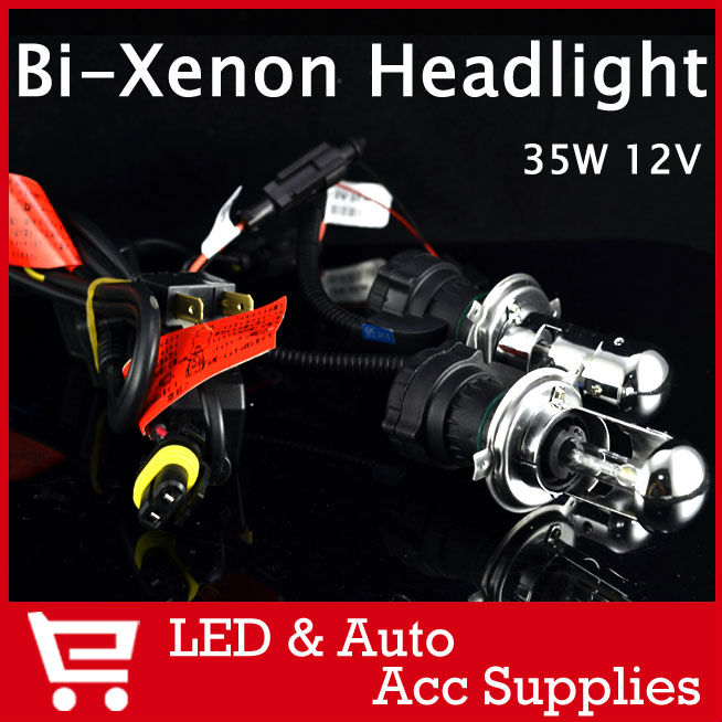 2X Bi Xenon 35W H4 12V AC HID Automotive Headlight Replacement Bulbs H4-3 BiXenon Hi/Lo Beam Lamp 4300K 6000K FREE SHIPPING(China (Mainland))