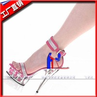 2013 new - a leisurely stroll for open-toed high with color core crystal Roman sandals cool beauty  pink high-heeled sandals