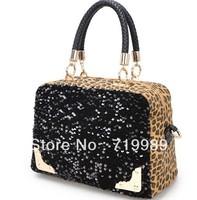 Hot Women's Fashion Leopard Sequined Shoulder Bags Brand Name New Designer Handbags