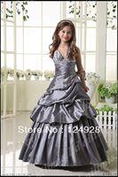 Halter Floor-length Girl Kids Pageant Bridesmaid Dance Party Princess Formal Dress Size2.4.6.8.10.12