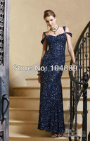 Hot Fashionable blue card shoulder type fish type set auger formal evening dress, wedding dressesSize 2 4 6 8 10 12 14 16 18 20