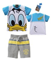 2013 free shipping children's Donald duck Suits baby kids cotton t shirt+pant trouses set boys clothes