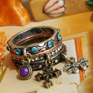 Free shipping purple gorgeous charm vintage gem cross ring set of ring Min.order is $10 ( Mix order)(China (Mainland))