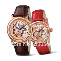 2013 TOP Quality Seagull brand Couple skeleton automatic mechanical mens and ladies leather wrist watches M182SGK
