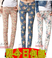 Vintage 2012 flower skinny slim pants female trousers elastic pencil pants female