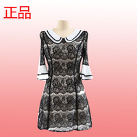 Spring women's half sleeve black and white slim lace one-piece dress female