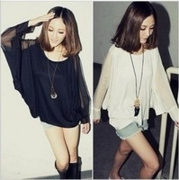 Clothes 2013 women's spring chiffon patchwork batwing sleeve long-sleeve t-shirt Iotion batwing shirt
