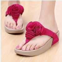 Free Shipping Fashion Genuine leather beach Sandals big flowers Platform Flip Flops Slippers Shoes for women Casual 7 Colors