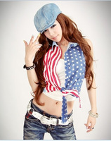 Special promotions Ds costume american flag print bow short shirt