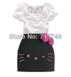 2013 Hello Kitty Bow dress lace girls tight dress 2 colors 5 size available 2pcs suit ON-SALE GQT-186(China (Mainland))