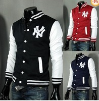 "Men's ""N+Y"" Baseball Hoody Coats Slim Designed Jacket 3 Color size M L XL XXL"
