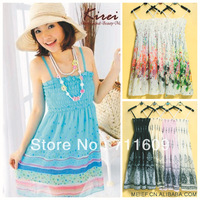 2013 the wholesale new lyq fashion Bohemian big flower strap Korean version of the new chiffon dress