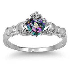 Classic Jewellery Claddagh Lady's 10KT Gold Filled Rainbow Topaz Diamonique Wedding Band Ring size 6/7/8/9 Free shipping Gift(China (Mainland))