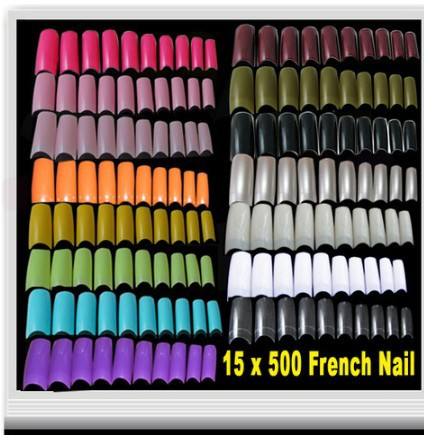 Promotion!15 COLOURS 500 PER PACK FRENCH FALSE ACRYLIC NAIL TIPS FREE SHIPPING(China (Mainland))