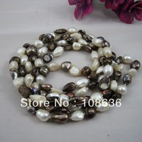 Free Shipping Natural Cultured Freshwater Pearl Necklace, 2-strand, straight drilled pearl beads, shining mellow luster, 9-10mm