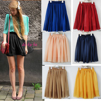 Age pleated bust skirt short skirt candy color all-match chiffon puff skirt medium