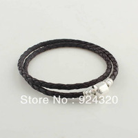 Free Shipping Double Black Leather Bracelet with Sterling Silver Clasp For European Charms and Beads,Fashion Bracelet