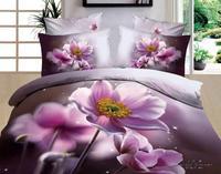 Hot Beautiful 100% Cotton 4pc Doona Duvet QUILT Cover Set bedding set Full / Queen/ King size 4pcs grey purple flowers