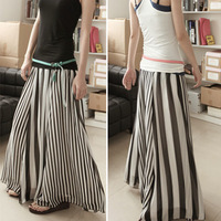 Women's black and white stripe patchwork chiffon skirt expansion skirt stripe bust skirt half-length full skirt